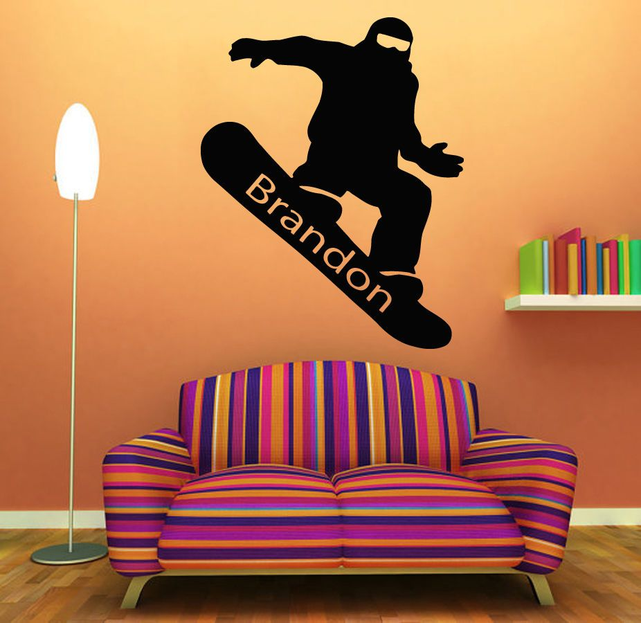 Wall decals snowboarding personalized name vinyl sticker boy room wall decals snowboarding personalized name vinyl sticker boy room decor kg747 amipublicfo Image collections