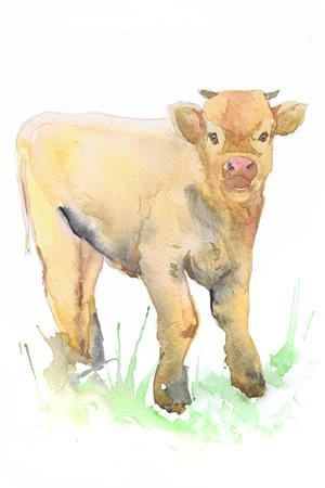 Сalf painting Art Baby Watercolor Farm Nursery Decor Print Boy Girl ...