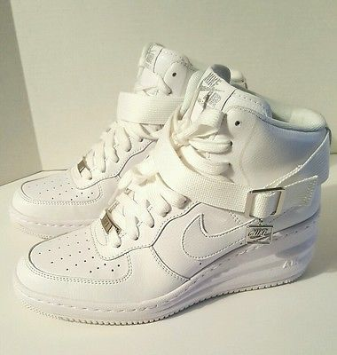 designer fashion feaec 77dfc NEW NIKE AIR FORCE ONE 1 AF1 SKY HI WEDGE HEELS WHITE WOMEN S SHOES 7.5