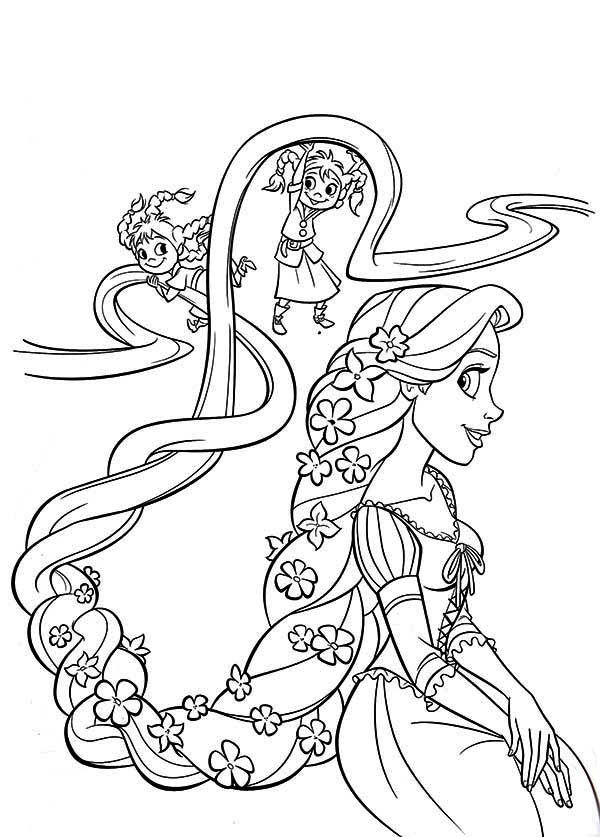 Two Kids Playing With Rapunzel Hair Coloring Page Kids Play Color Color Coloring Hair Ki Hayvan Boyama Sayfalari Boyama Sayfalari Boyama Sayfalari Mandala