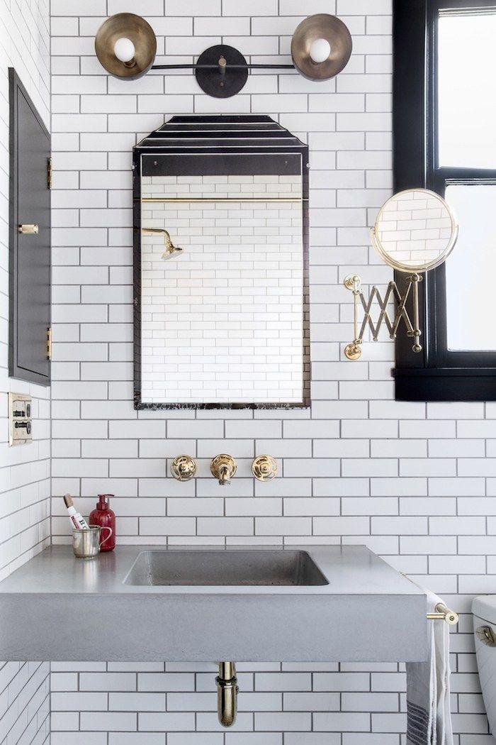floating sink-white subway tile Interiors\u2022Bathrooms Pinterest