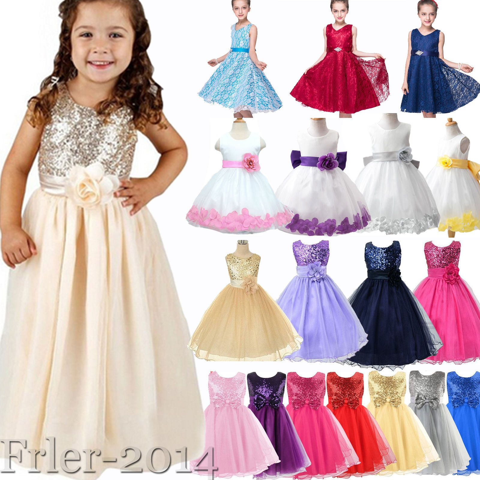 Cool amazing flower girl princess tutu dress kids baby party pageant
