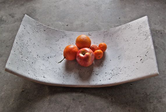Curved Concrete Fruit Bowl or Tray by INSEKDESIGN on Etsy, $120.00