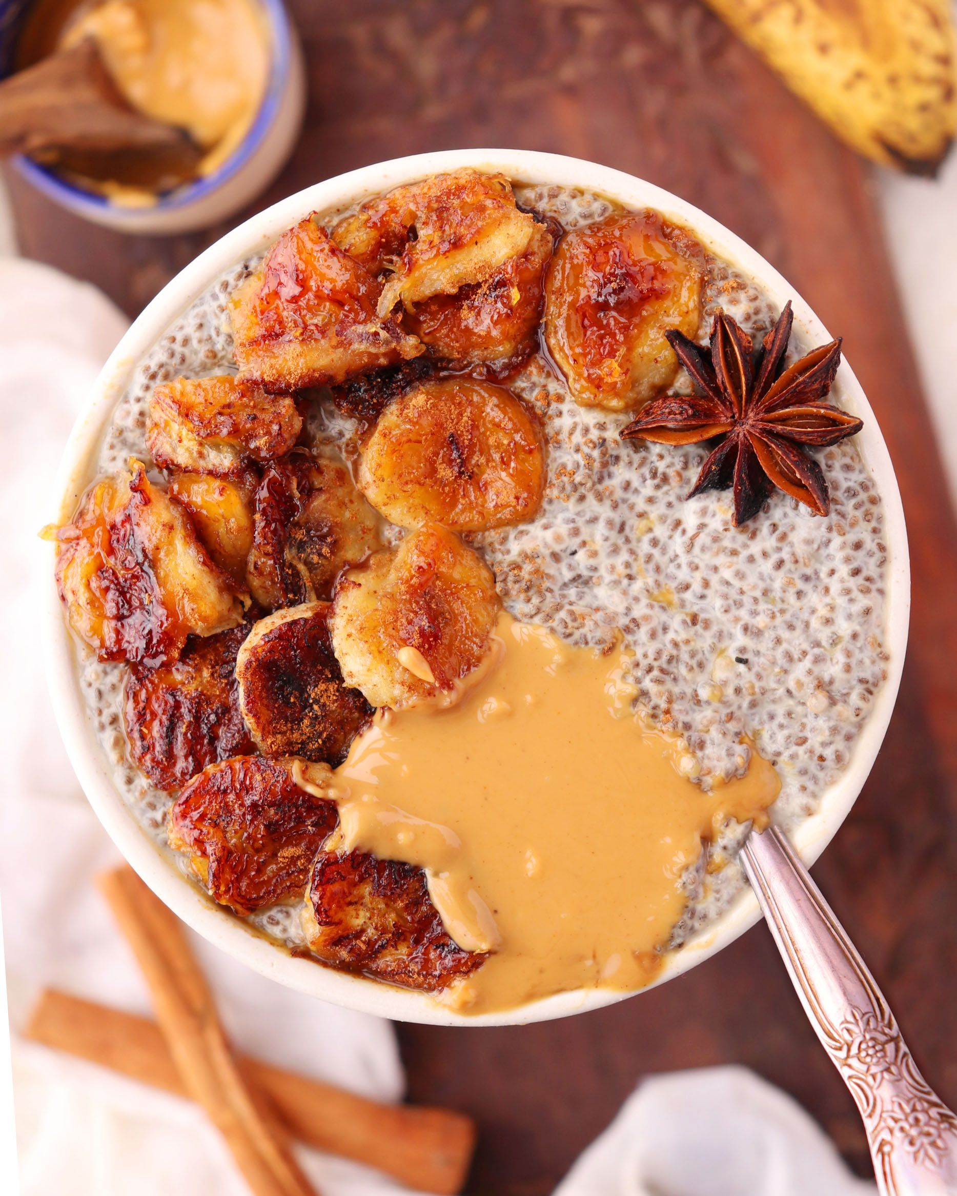 Warm Chia Pudding with Caramelized Bananas - That Delicious Dish - Global recipes with an Indian spin