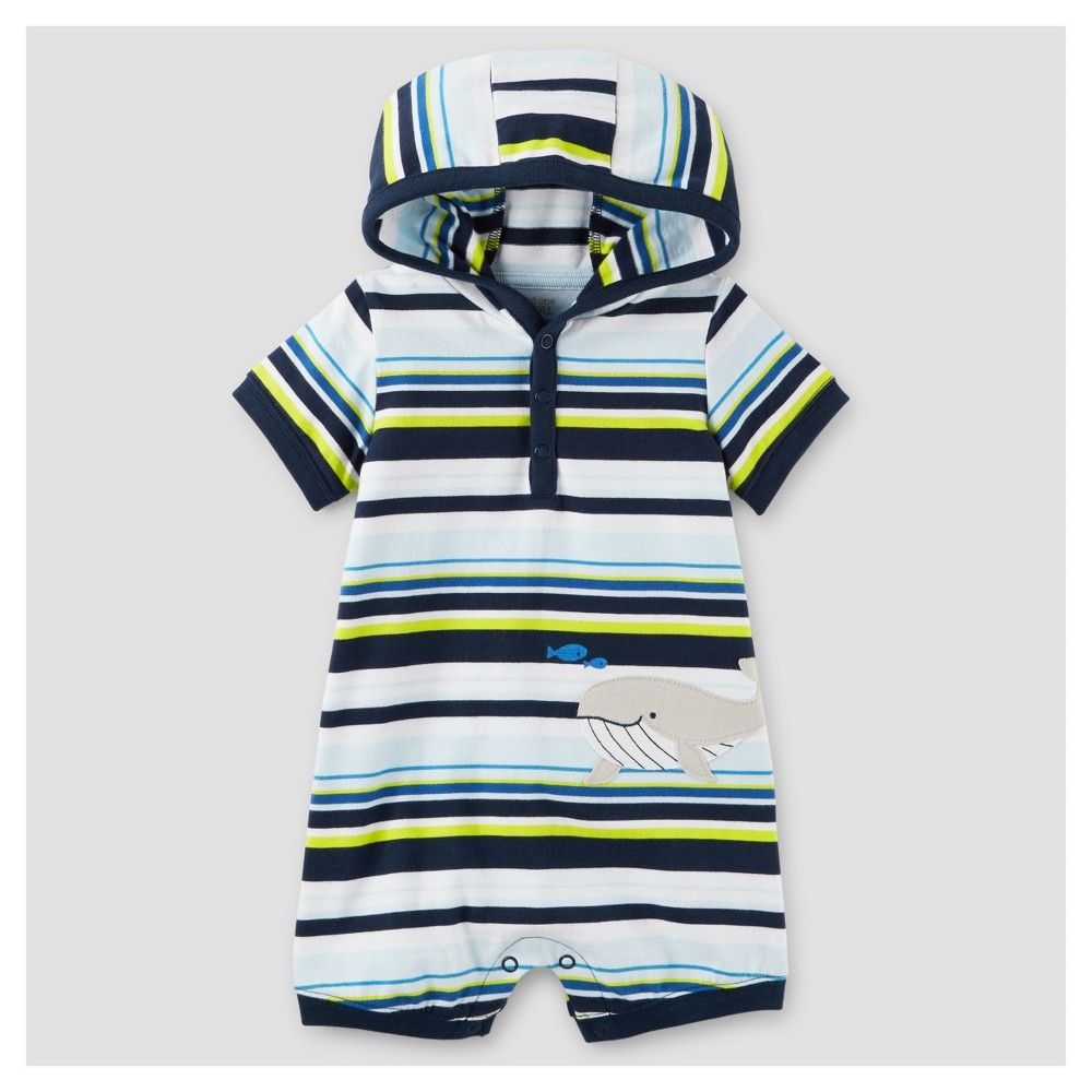 3f3c05758 Baby Boys  One Piece Whale Striped Hooded Romper - Just One You Made ...