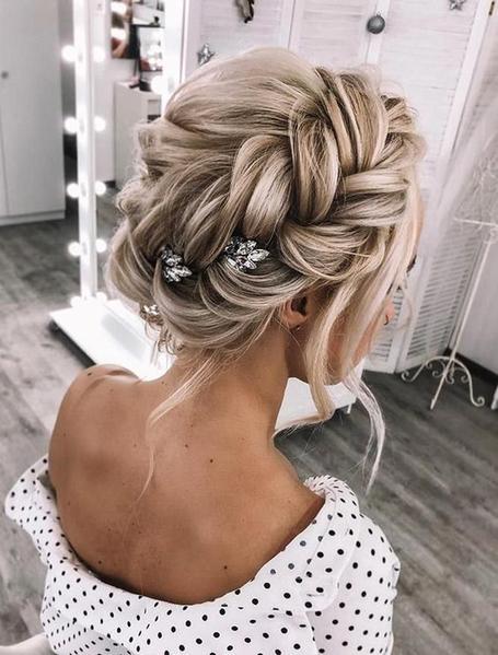 10 Trending Bridal Hairstyles With Halo Hair Extensions In 2020 Braided Bun Hairstyles Hair Styles Wedding Hair Down