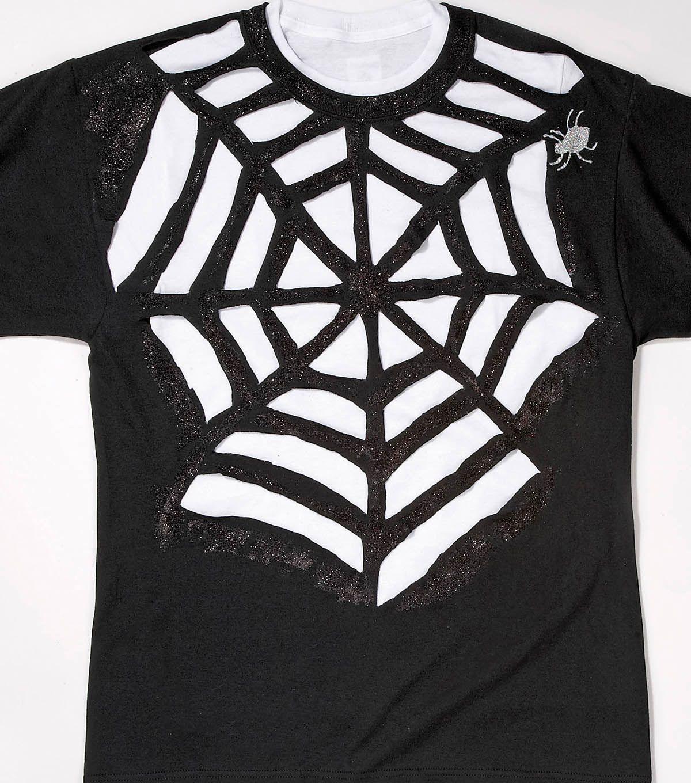 Black t shirt diy - Spider Web T Shirt Instructions 1 Lay Out Shirt On Flat Service