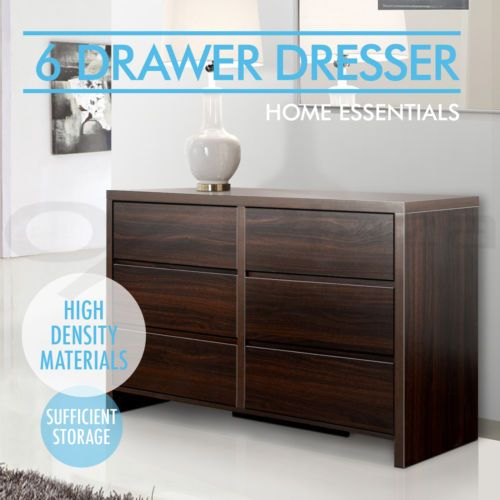 Dresser 6 Chest Of Drawers Lowboy Cabinet Bedroom Storage Dressing Table