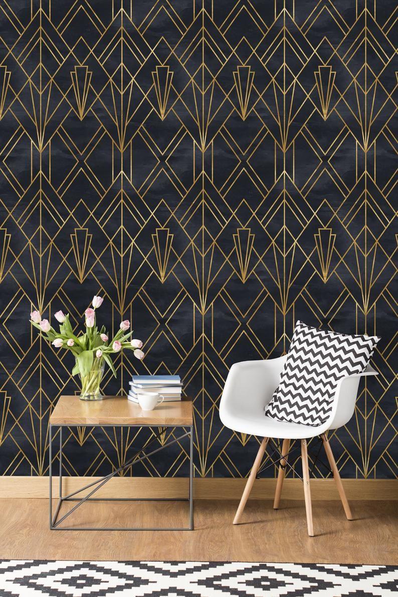 Removable Wallpaper Self Adhesive Wallpaper Gold And Black Etsy In 2020 Art Deco Wallpaper Art Deco Interior Home Wallpaper
