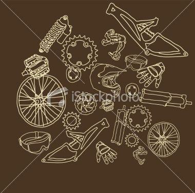Bike Parts Royalty Free Stock Vector Art Illustration