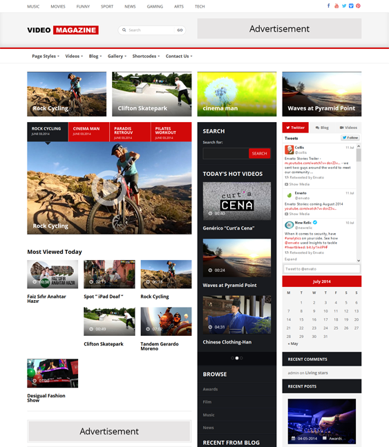 This video WordPress theme has 5 footer, header, and