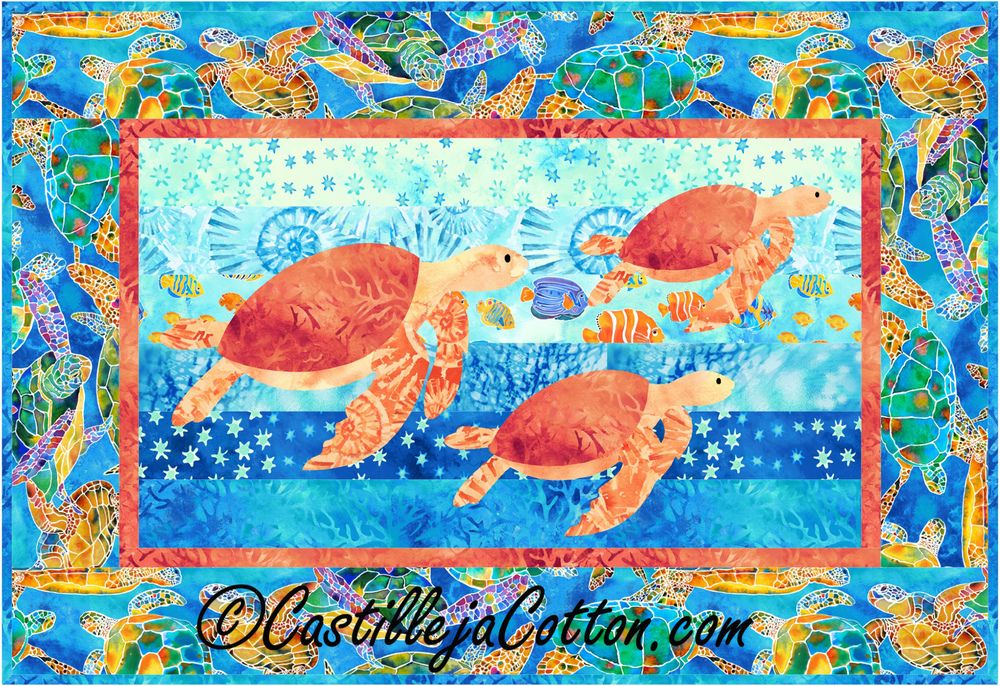 Cruising Turtles Quilt Pattern  #turtlequiltpattern #northcottfabrics #tranquiltidesfabric