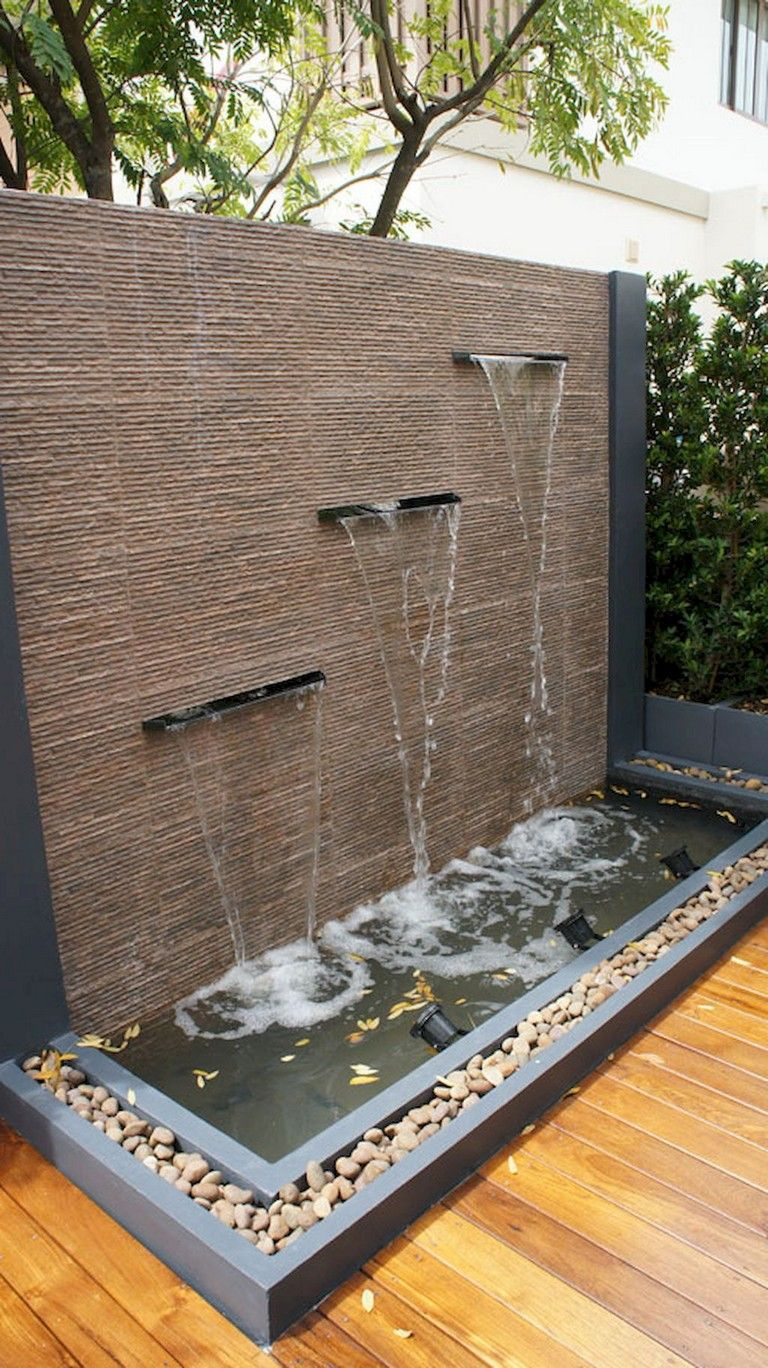 65 Lovely Backyard Waterfall And Pond Landscaping Ideas Indoor Water Features Waterfalls Backyard Indoor Water Fountains Modern backyard waterfall ideas