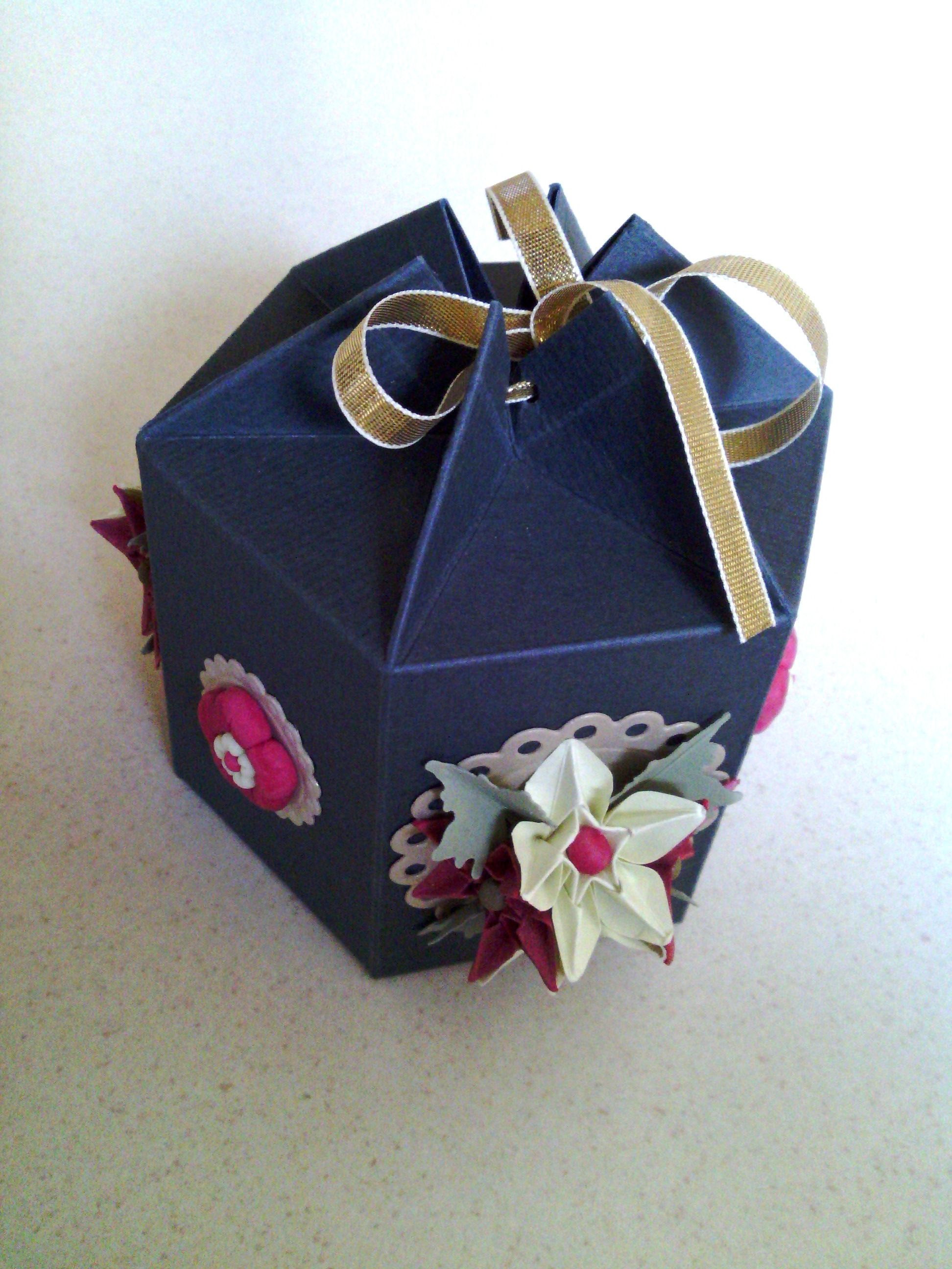 Gift Boxes Small Dark Green Hexagonal Box Embellished With