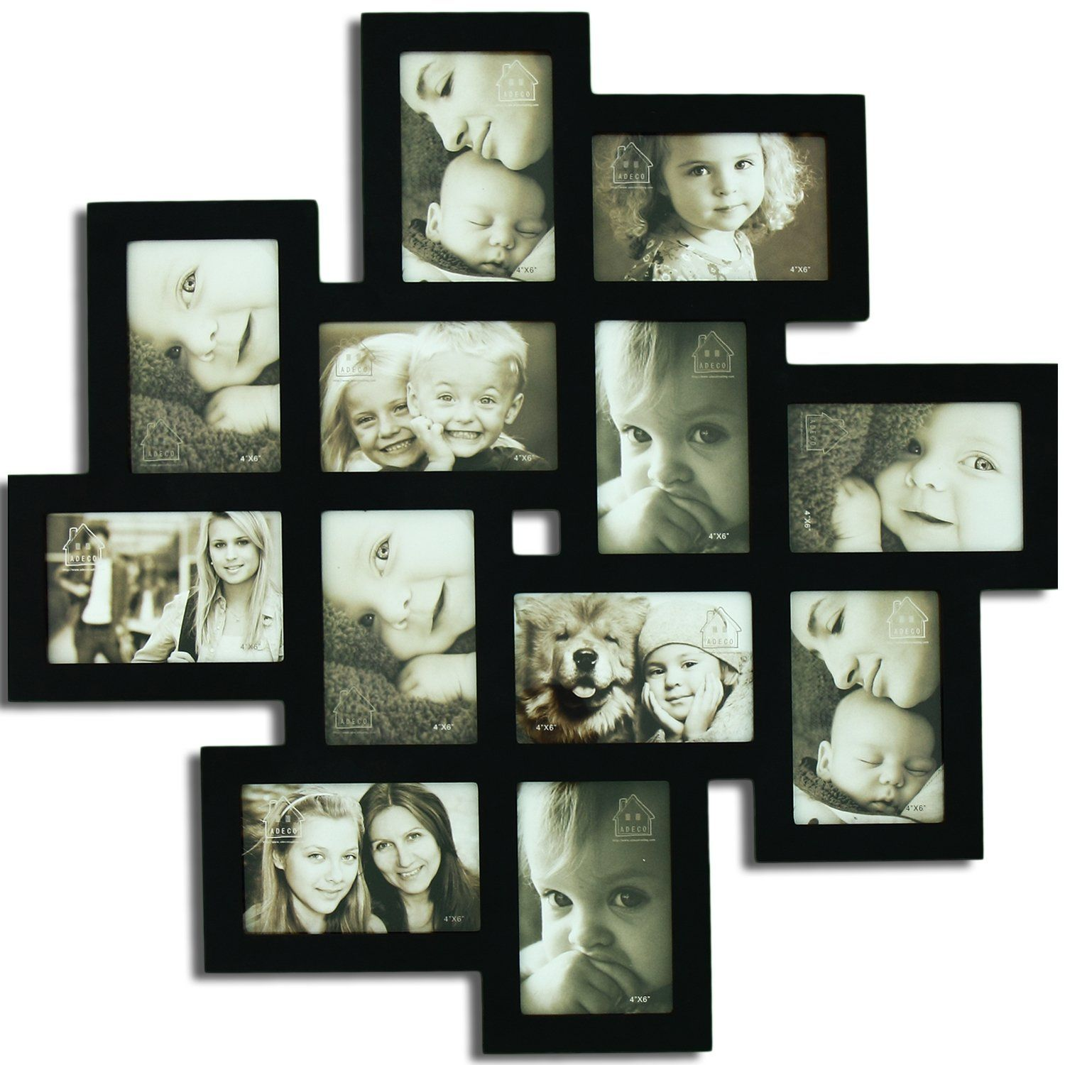 Adeco 12 openings picture collage frame six 4x6 inch six 6x4 inch found it at wayfair 12 opening decorative wood photo collage wall hanging picture frame jeuxipadfo Images