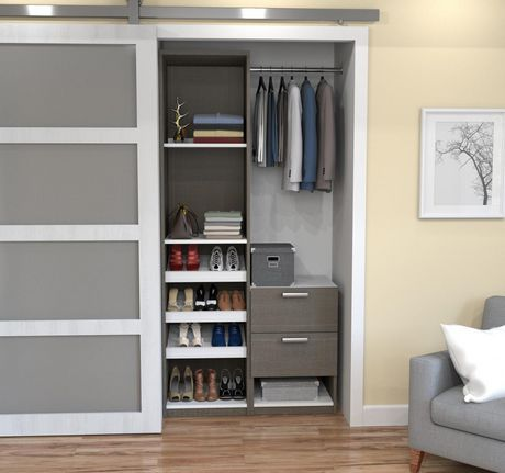 Cielo By Bestar Deluxe 39 Reach In Closet Bark Gray White Closet System Closet Storage Units Closet Storage
