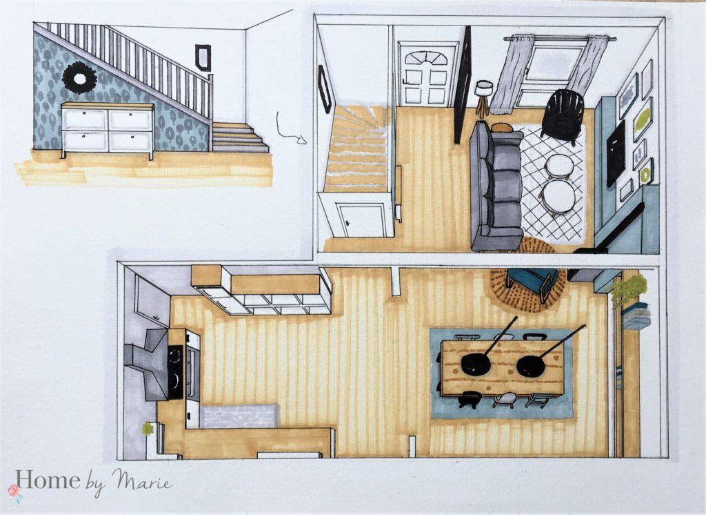 croquis aménagement salon salle à manger cuisine pièce de vie style