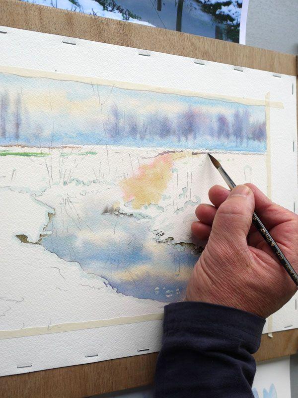 20 Aquarelle Paysage Neige Aquarelle Paysage De Neige Dessin