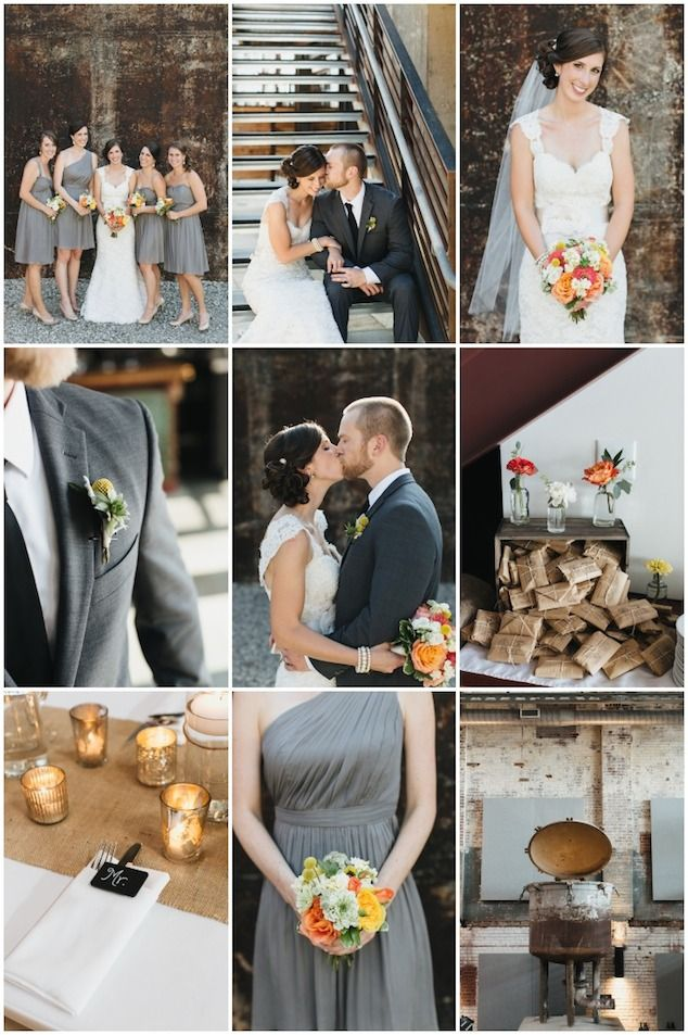 Rustic Modern Yellow and Gray Bridesmaid Dresses