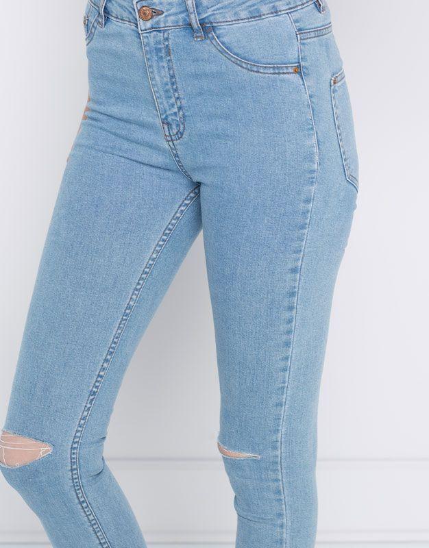 Jeans Skinny Fit Tiro Alto Novedades Mujer Pull Bear Espana Pantalones De Moda Jeans De Moda Jeans