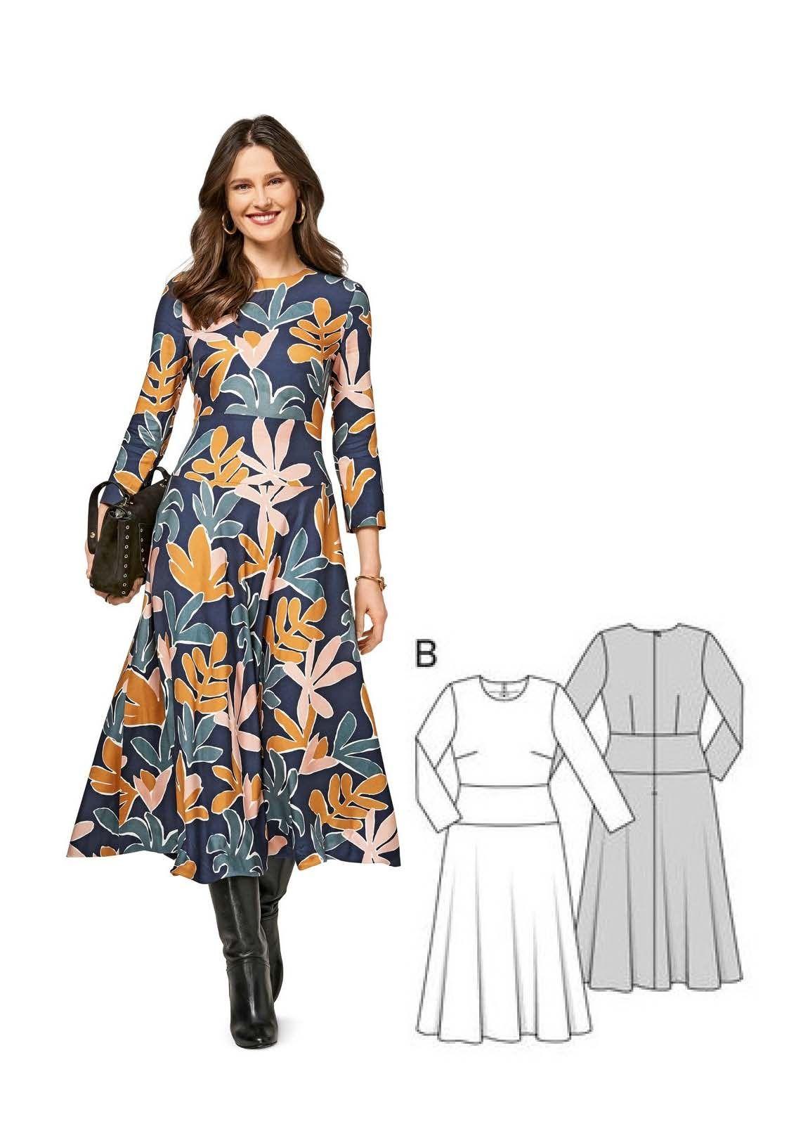 Kleid H/W 2017 #6454B | Kleider nähen, Produkte und Burda style