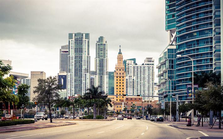 Download Wallpapers Miami 4k Street Florida Usa America Besthqwallpapers Com Fondo De Pantalla De La Ciudad Florida Fotos