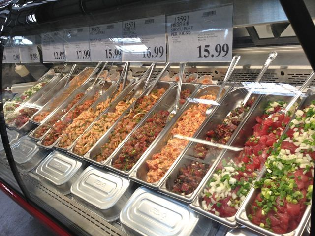 Feeding frenzy at the new costco maui fresh fish poke bar for Maui fishing store