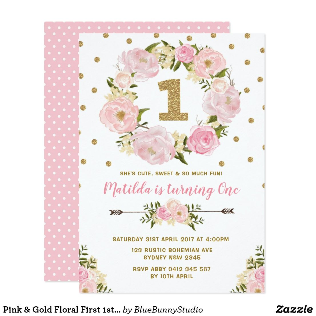 Pink & Gold Floral First 1st Birthday Party Invite in 2018 | { Happy ...