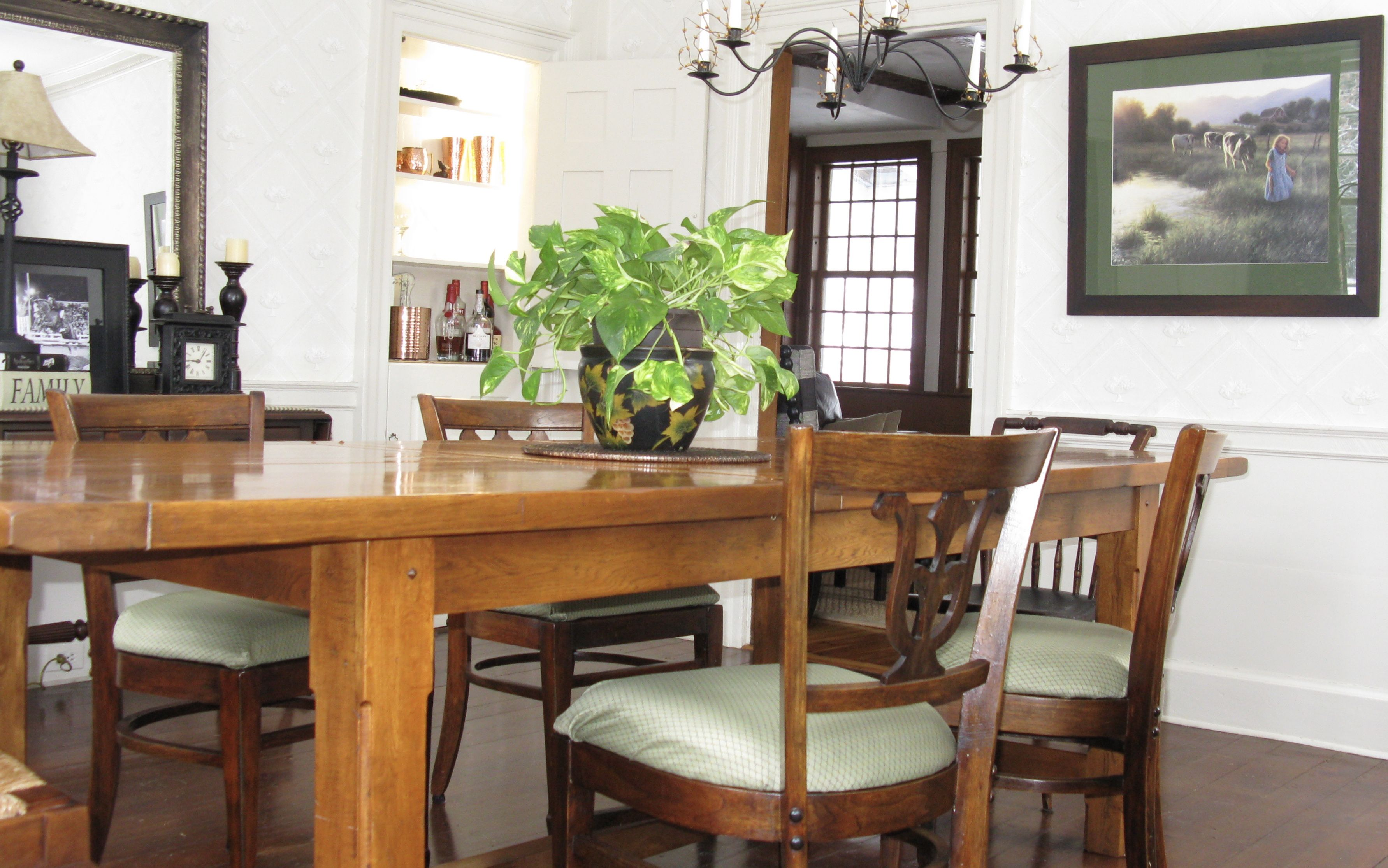 Dining Room, Farmhouse Table, Antique, Liquor Cabinet, Candle Chandelier,  Wallpaper
