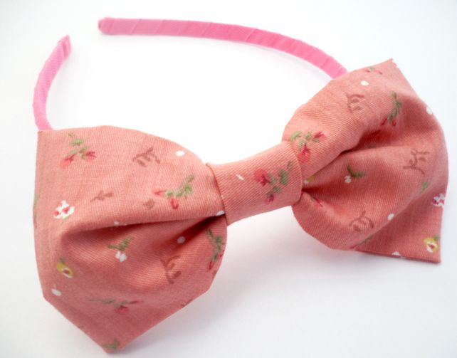 Floral Bow Baby Aliceband Pink by Nina's Accessories