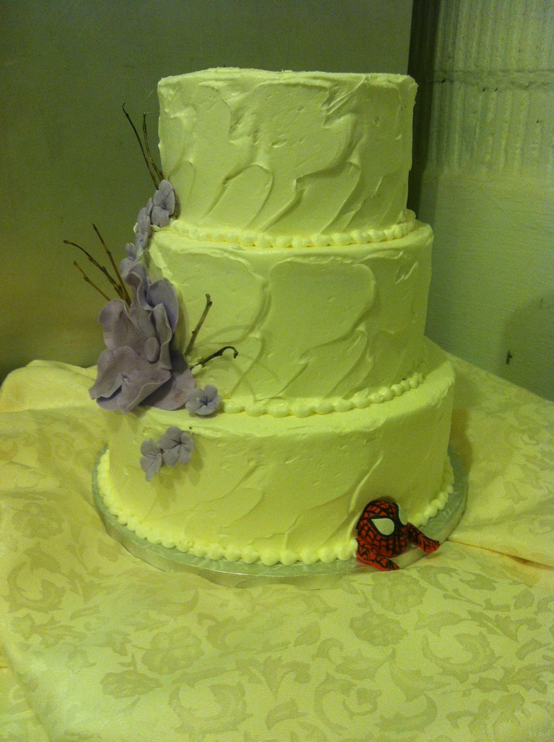 Textured Buttercream Wedding Cake With Purple Sugar