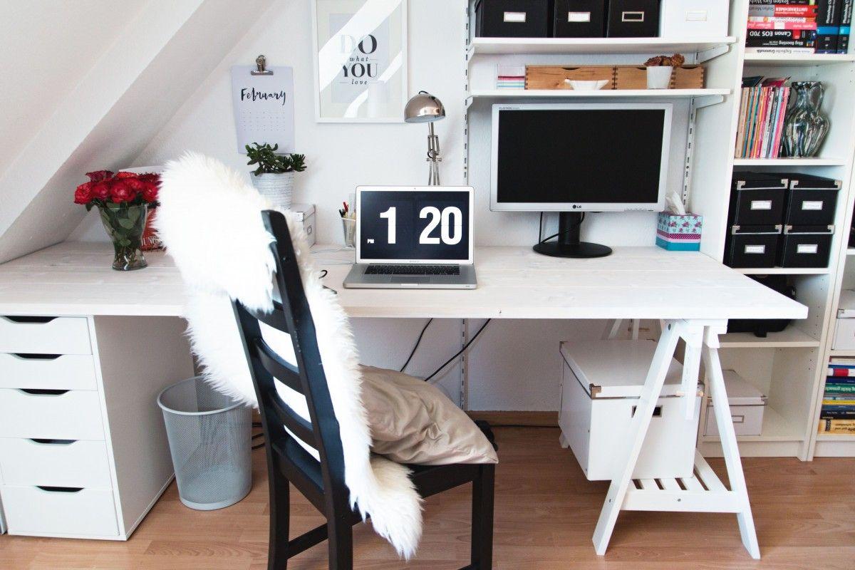 diy unser neuer schreibtisch budget selber bauen und schreibtische. Black Bedroom Furniture Sets. Home Design Ideas