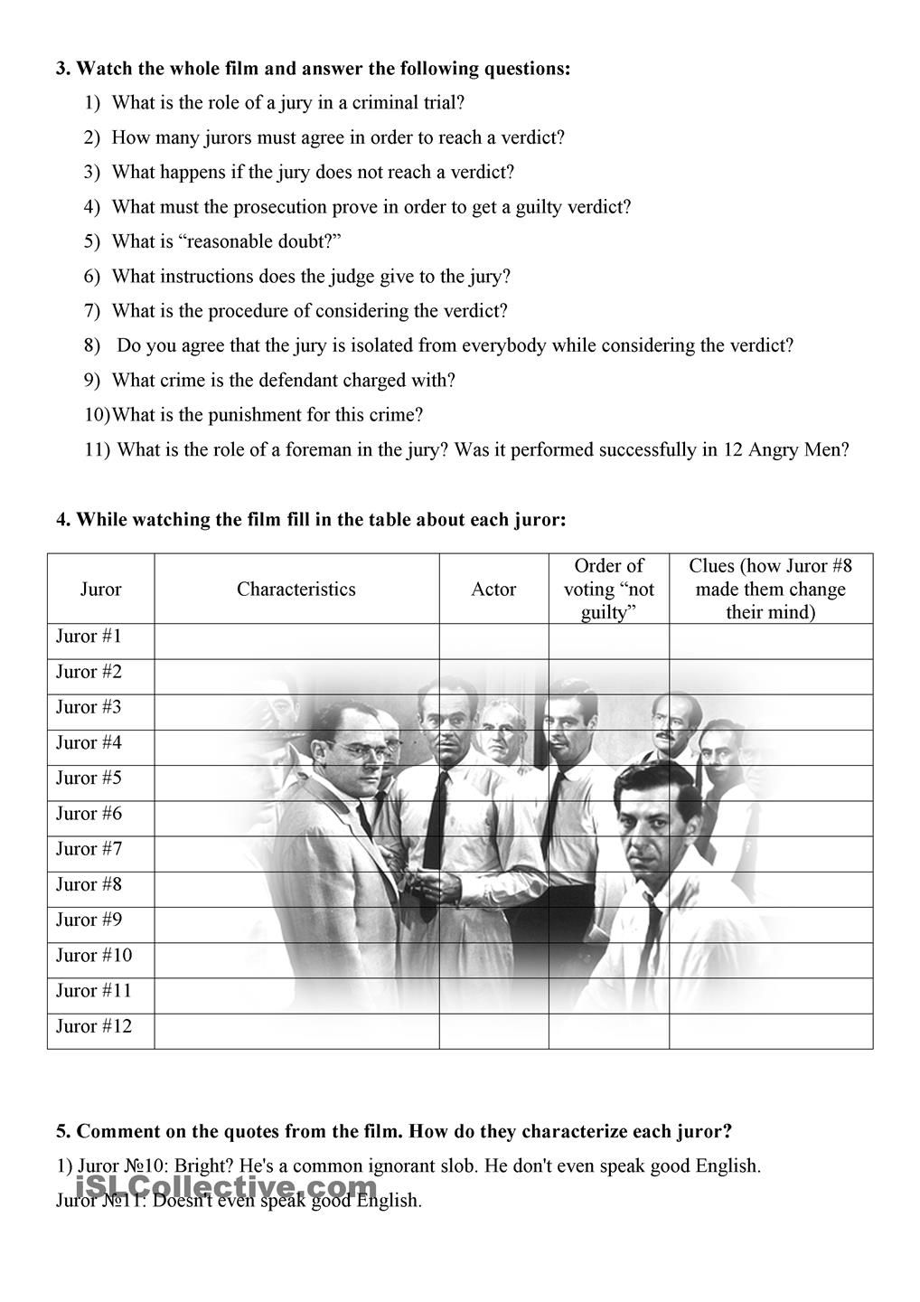 Twelve Angry Men Video Guide 12 Angry Men Pinterest Worksheets