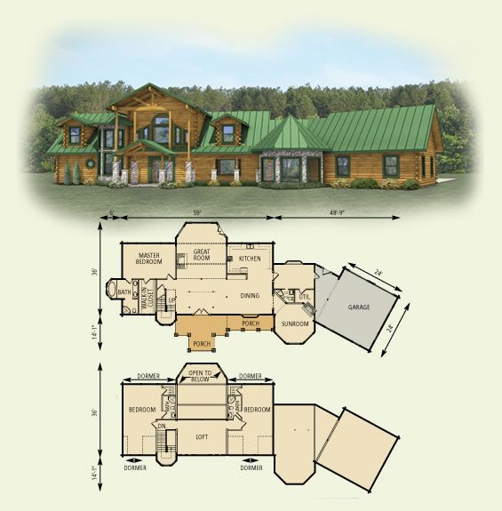 log cabin home plans designs. hawks nest log home and cabin floor plan  Home Style
