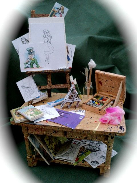 Dolls House Miniatures - Alice in Wonderland themed Artist's Table Yes, please! My mini house will need a studio!