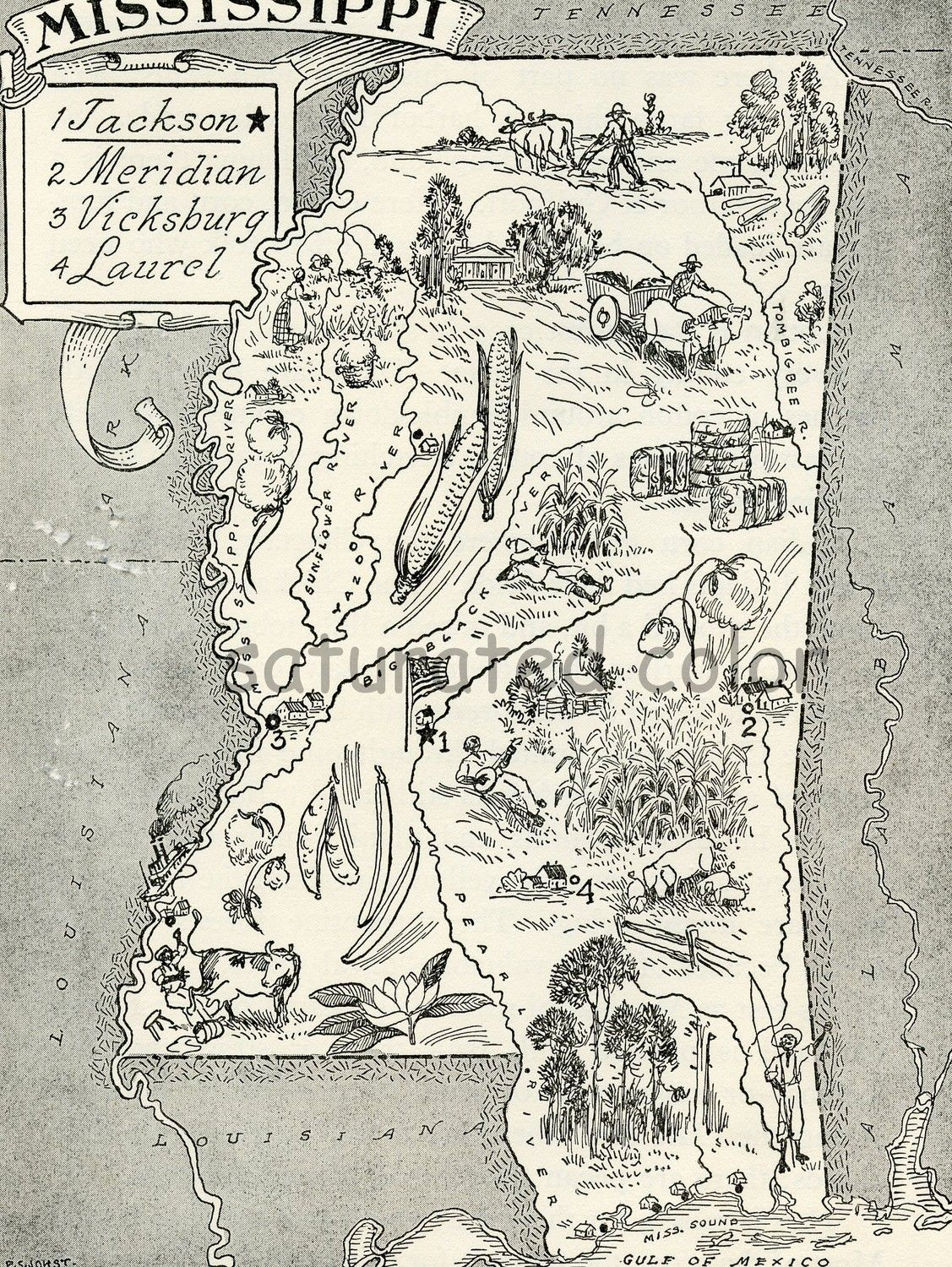 S Mississippi A Delightfully Amusing ORIGINAL Vintage Map - Maps mississippi