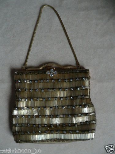 ART DECO FRENCH GLASS GOLD/DIAMOND BEADED EVENING HAND BAG | eBay