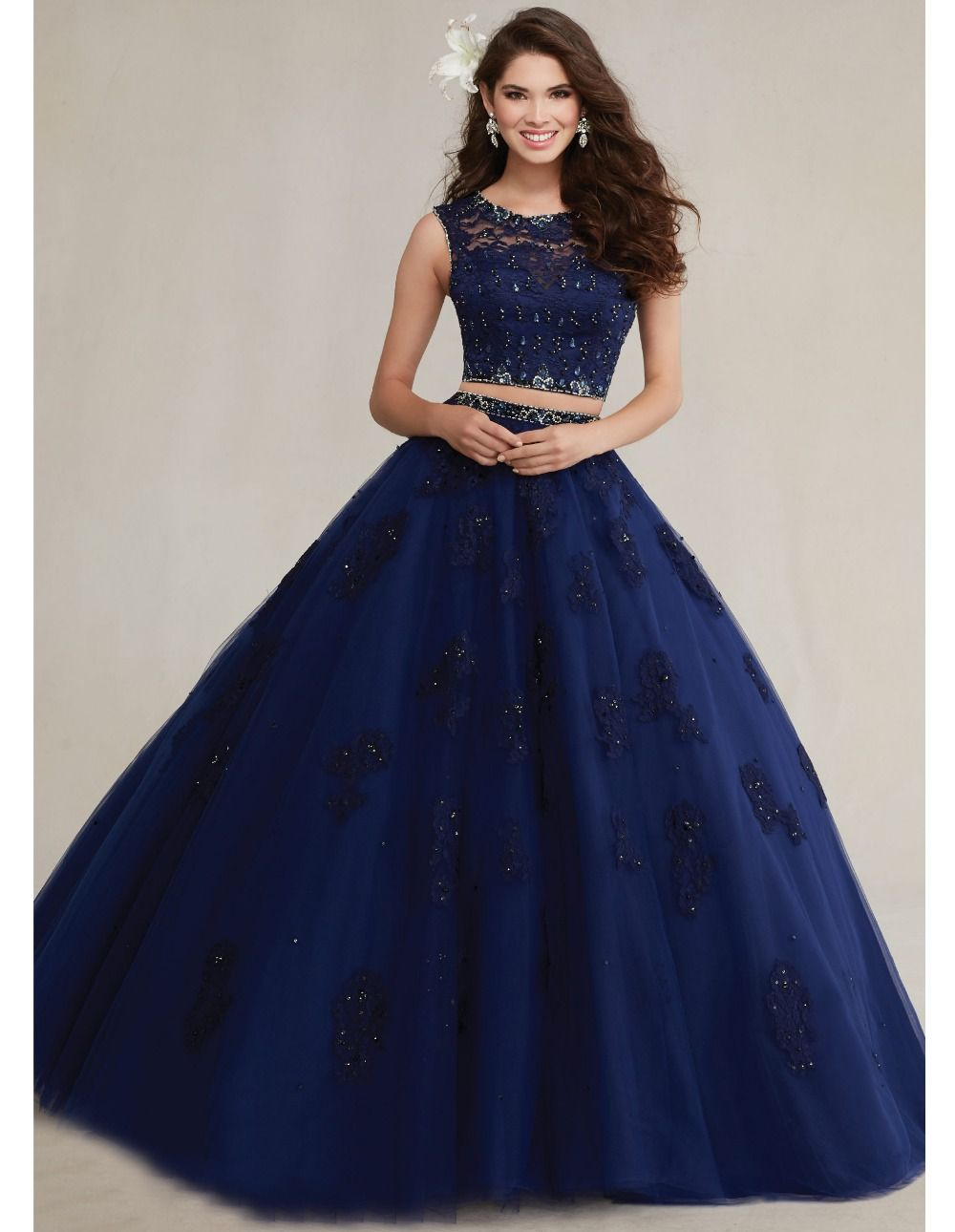 a848b6abac4 Newest crystal lace royal blue sweet 16 dresses two pieces quinceanera  dresses blue masquerade party debut ball gowns YK 061
