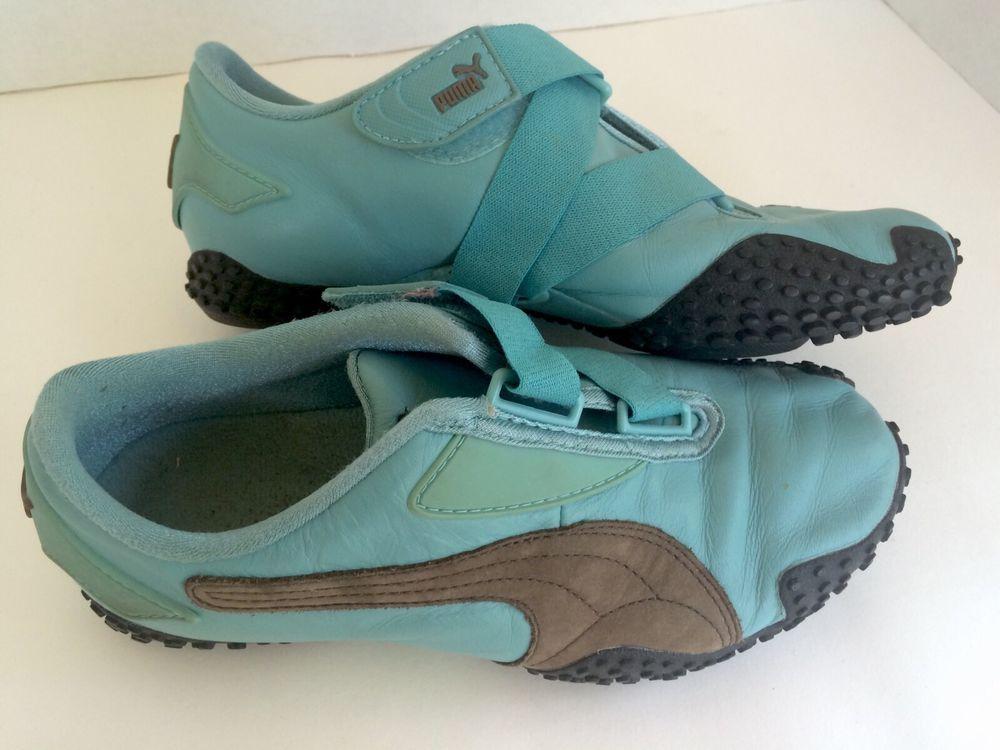 Pre Owned Women s Puma Athletic Shoes Size 6 Velcro Strap Blue Brown ... f8897d559d