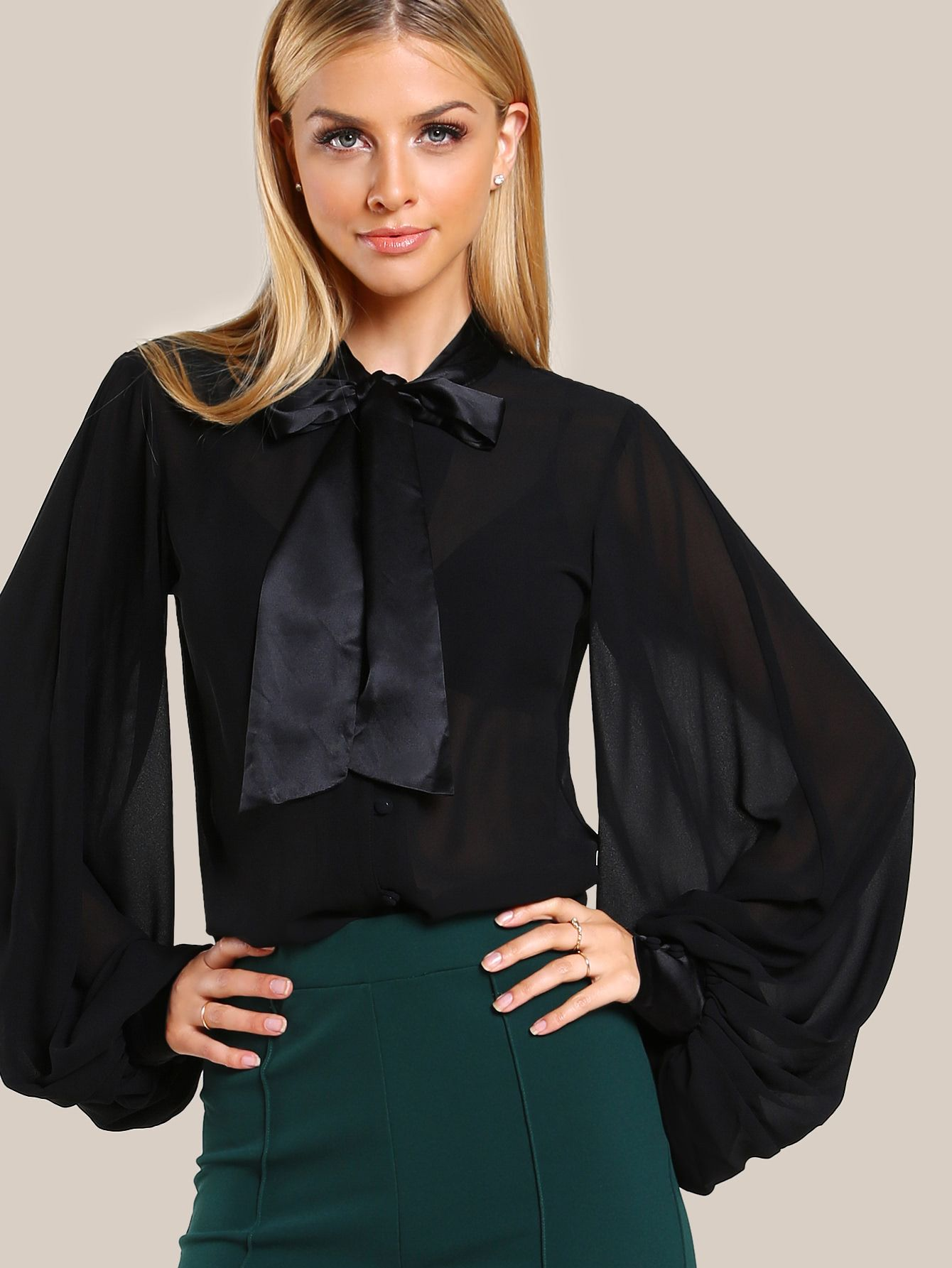 d8506d0c5b Shop Tie Neck Bishop Sleeve Blouse online. SheIn offers Tie Neck Bishop  Sleeve Blouse &. Visit. April 2019