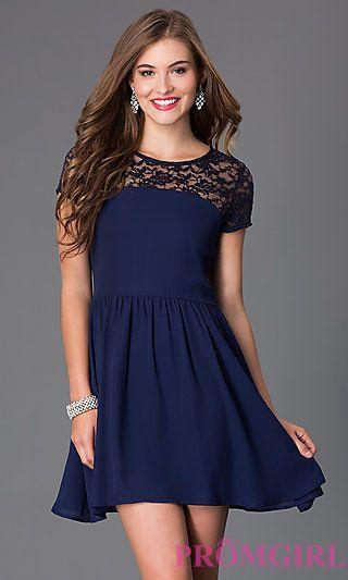 5376007261 Short Scoop Neck Short Sleeve Dress at PromGirl.com
