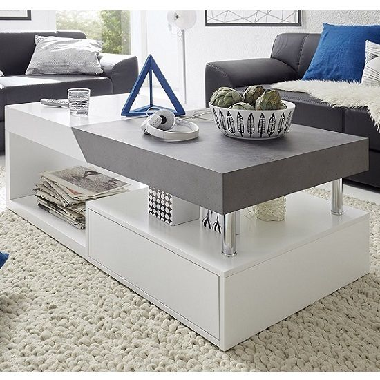 Tuna Extendable Storage Coffee Table In Matt White And Concrete