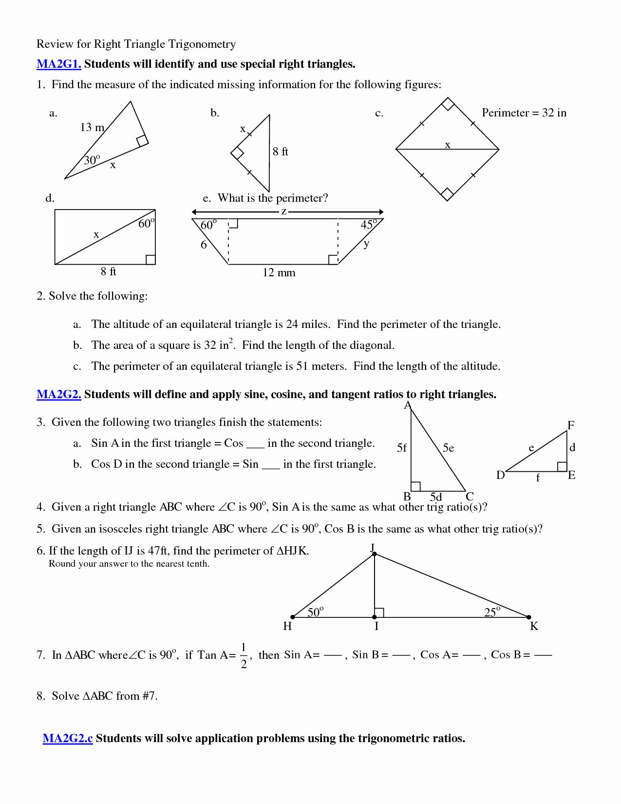 50 Right Triangle Trigonometry Worksheet In