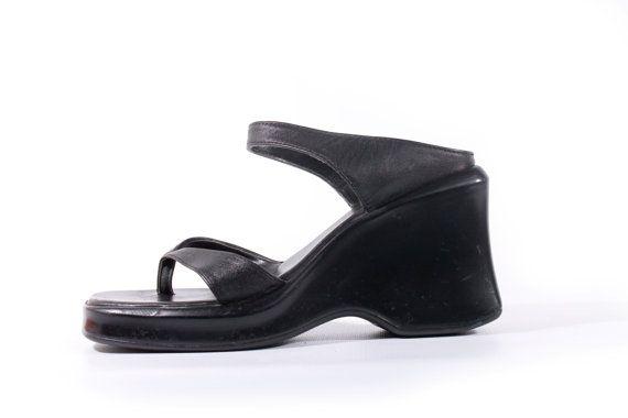 999df261c6d 90s vintage black platform sandals. 🔹Leather thong and unique front strap.  🔹Although