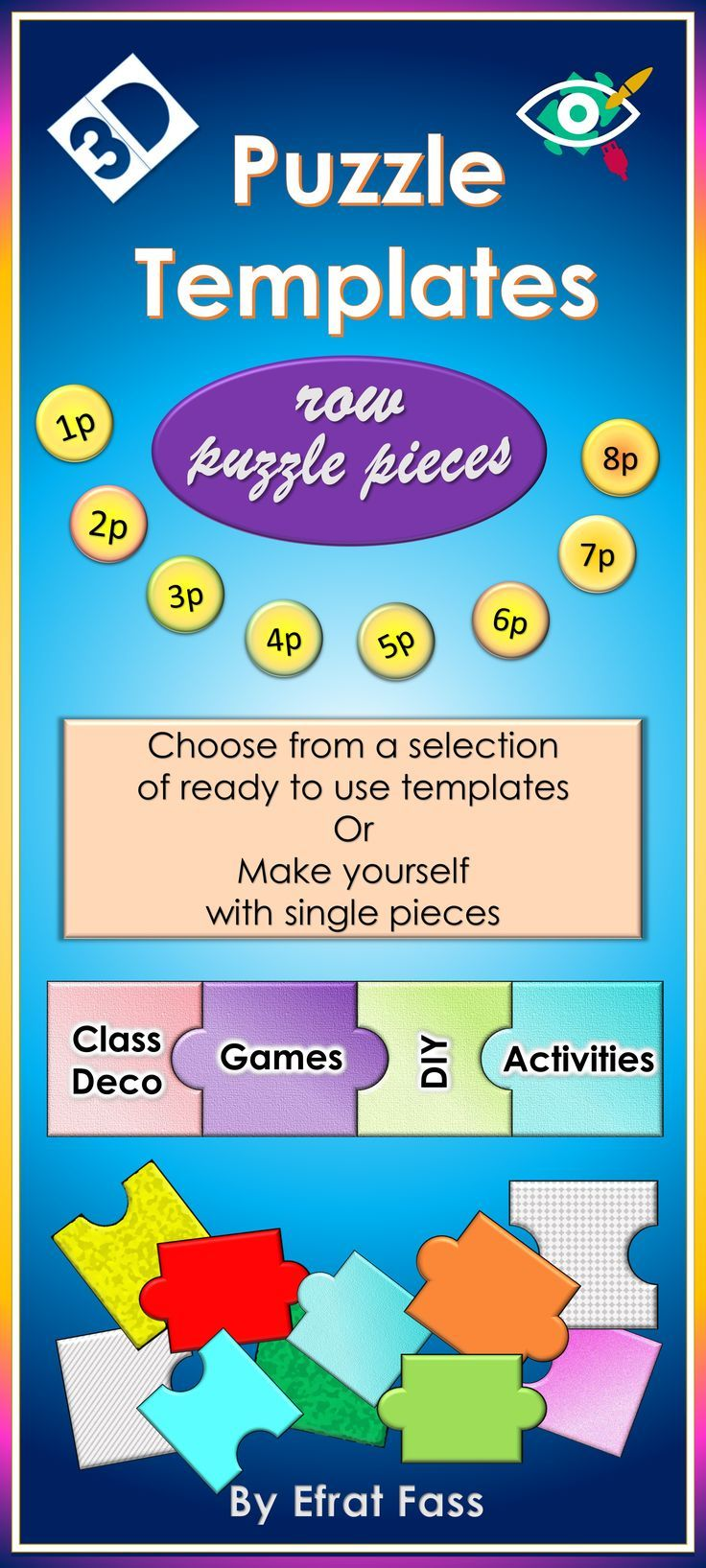 3d row puzzle templates especially for educators. teachers
