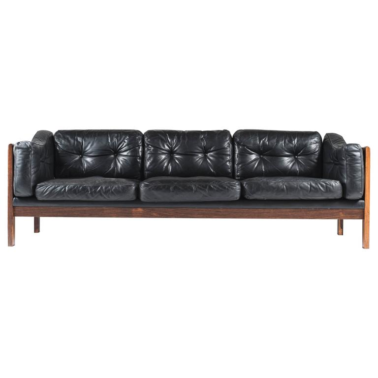 Scandinavian Rosewood And Black Leather Sofa \
