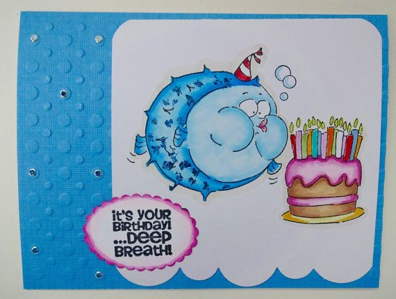 Funny Birthday Fish Card Cake And Candles by PaperTreasuresShoppe – Fish Birthday Cards