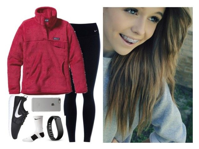 """""""Kate's OOTD: Ice Skating"""" by evieleet ❤ liked on Polyvore featuring NIKE, Patagonia, Fitbit and Incase"""