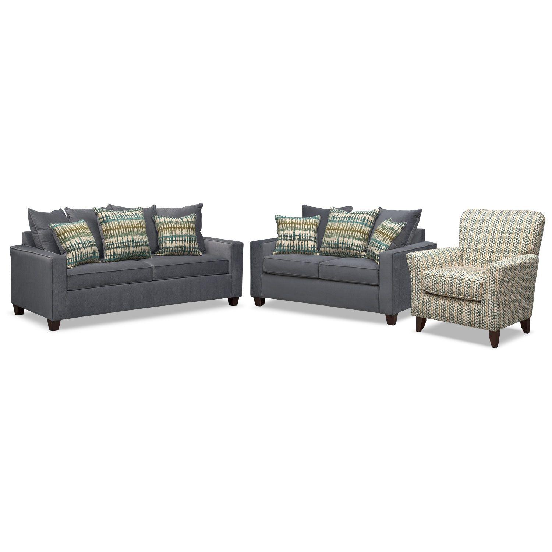 Bryden Queen Memory Foam Sleeper Sofa Loveseat And Accent Chair Set