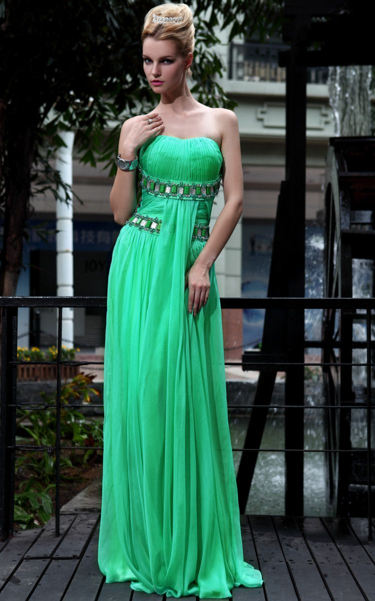 Lime green sweetheart ruched evening dress exotic in design evening
